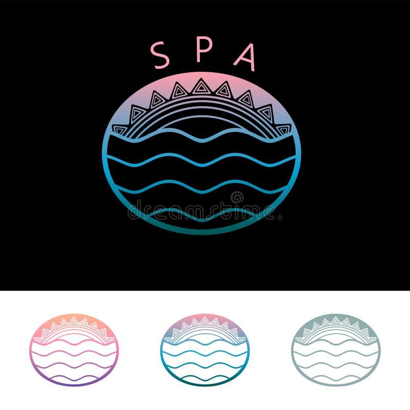 SPA με τον ήλιο και θάλασσα, έμβλημα λογότυπων χρώματος στο εθνικό διακοσμητικό ύφος απεικόνιση αποθεμάτων
