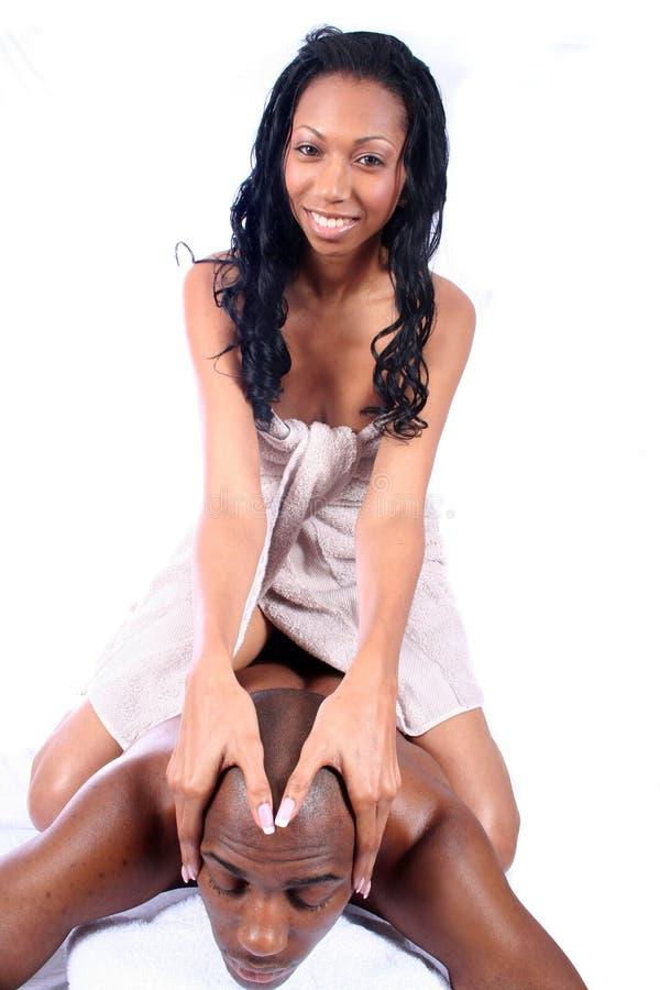 SPA ζευγών αφροαμερικάνων στοκ εικόνες με δικαίωμα ελεύθερης χρήσης