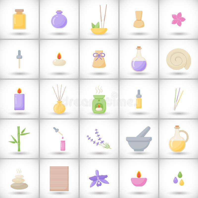 SPA και aromatherapy επίπεδα εικονίδια καθορισμένες διανυσματική απεικόνιση