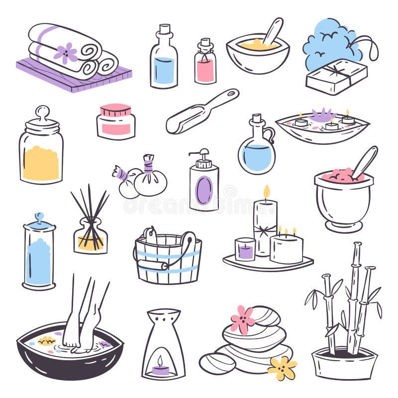 SPA μασάζ θεραπείας καλλυντική θεραπειών εικονιδίων ομορφιάς μασάζ υγειονομική περίθαλψη θεραπείας χαλάρωσης βοτανική συρμένη χέρ διανυσματική απεικόνιση