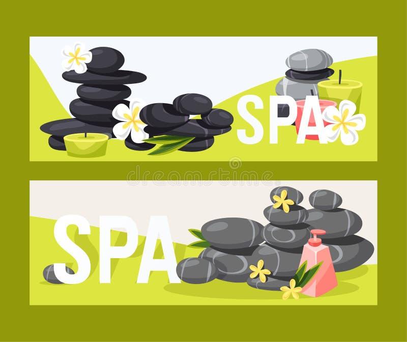SPA πετρώδης θεραπεία zen πετρών διανυσματική για την υγεία ομορφιάς και το σύνολο σκηνικού απεικόνισης χαλάρωσης φυσικής λιθόστρ ελεύθερη απεικόνιση δικαιώματος
