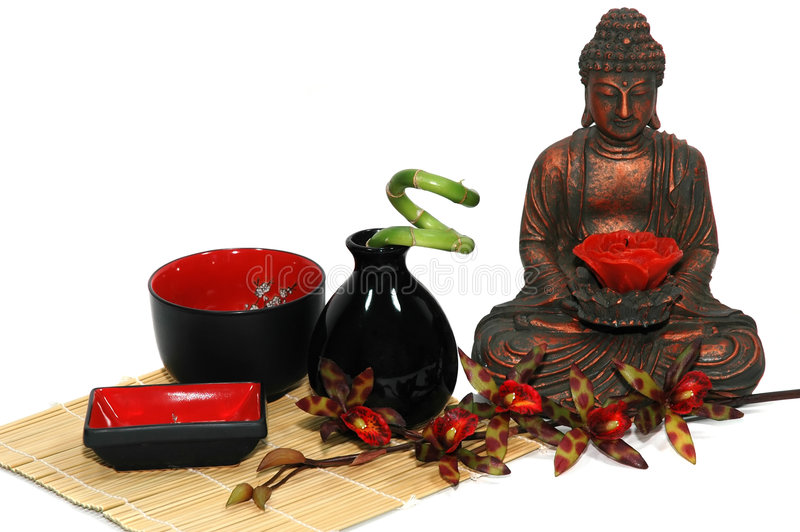 Spa. Orchid, candle, Buddha, Asian bowls and vase, bamboo plant stock photography