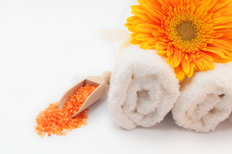 SPA still life with sea salt, towels and flower stock image