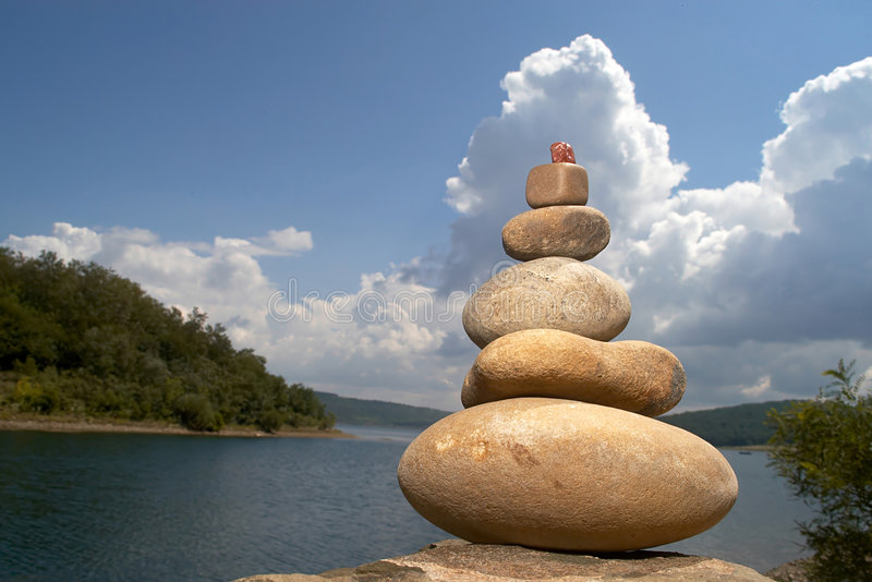 Spa. An image of a pyramid of stones royalty free stock photography