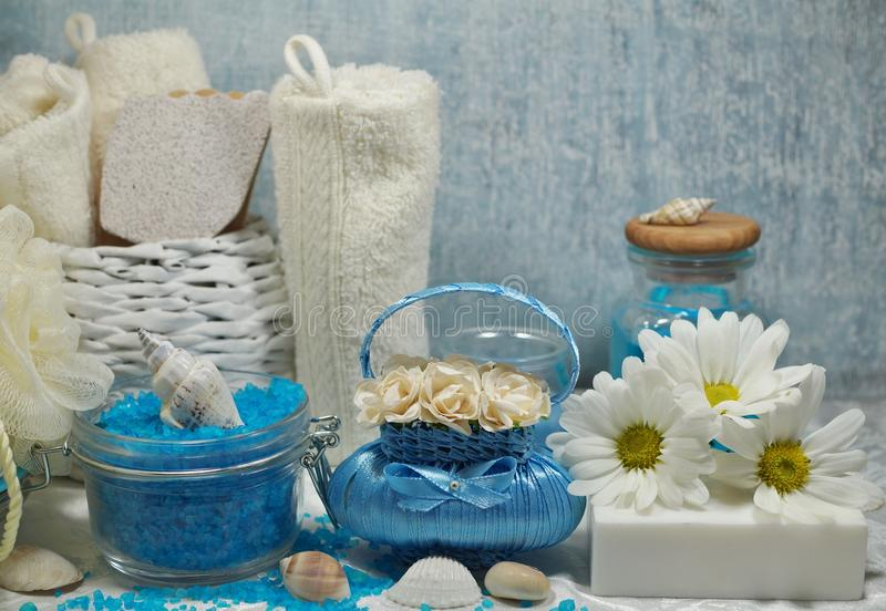 SPA - Aromatic sea salt and scented soap, scented candles and massage oil and accessories for massage and bath stock photography