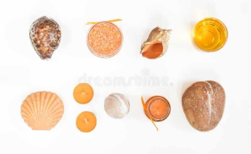 Spa attributes yellow orange sets royalty free stock image