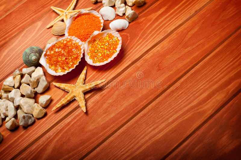 Spa background - bath salt and shell royalty free stock photo