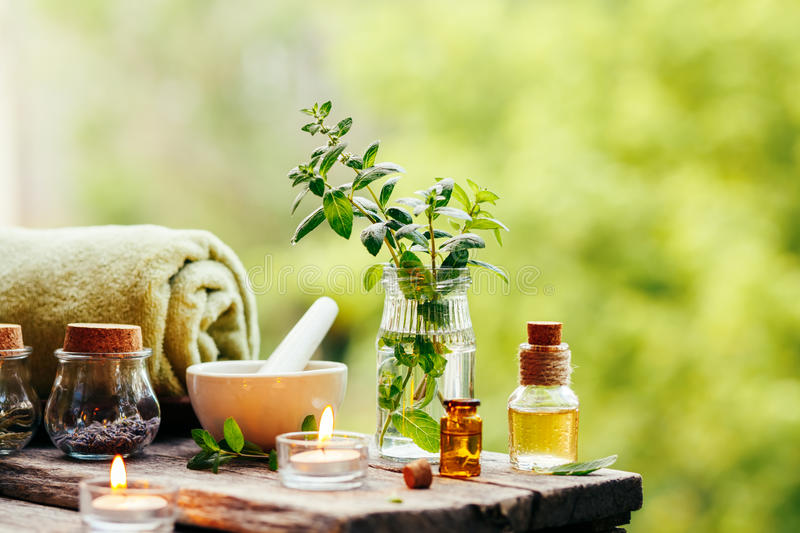 Spa background with essential oil stock photos