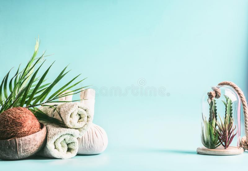 Spa background. Rolled towels, compress balls with coconut, palm leaves and various succulent plants in glass at light blue. Background. Tropical wellness and stock photo