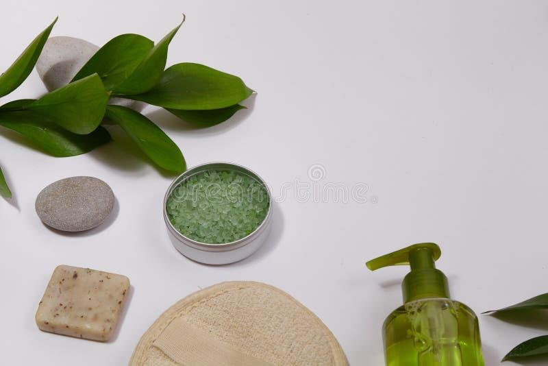 Spa bakgrund med badtillbehör, framsidan och kroppen att bry sig Ställ in för personlig omsorg Ren hud med borsten, rutinmässig s fotografering för bildbyråer