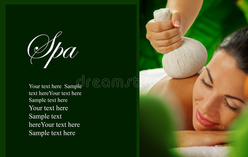 Spa banner. Portrait of young beautiful woman in spa environment. banner royalty free stock photos