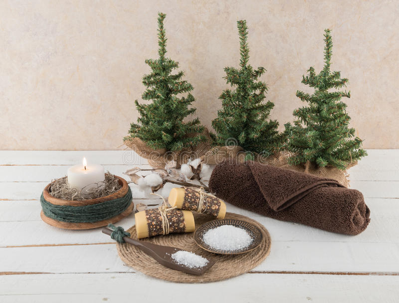 Spa and Bath Essentials with Rustic Candle and Cotton Branch stock images