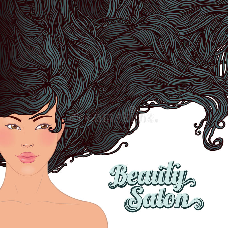 Download SPA-Beautiful Asian Girl With A Flowing Hair Stock Vector - Illustration of fashion, black: 24018311