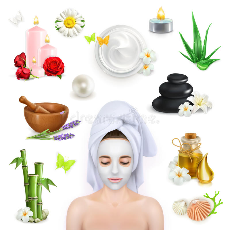 Spa, beauty and care. Set with spa, beauty and care vector icons vector illustration