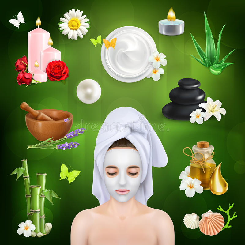 Spa, beauty and care. Set with spa, beauty and care vector icons on green background royalty free illustration
