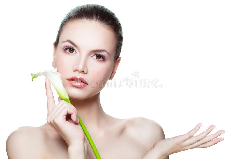 Spa beauty girl showing empty copy space on the open hand isolated on white. Presenting your product stock images