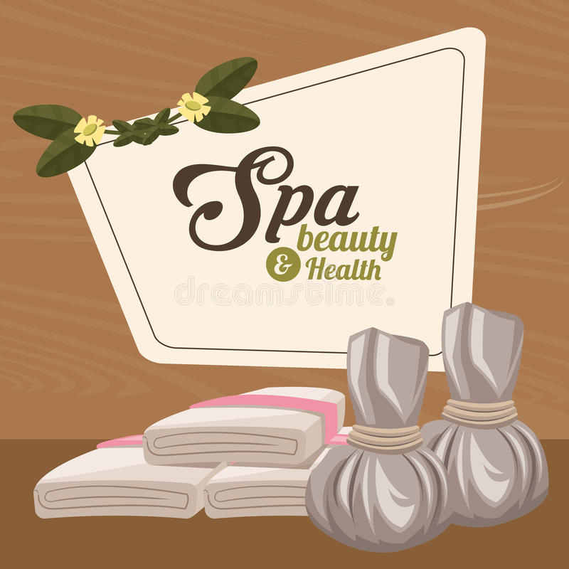 Spa beauty and health herbal compress and towel. Vector illustration eps 10 royalty free illustration