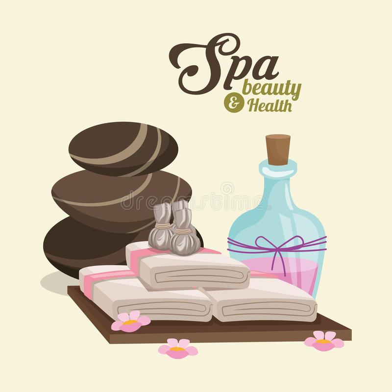 Spa beauty and health hot stone compress lotion pink flowers. Vector illustration vector illustration