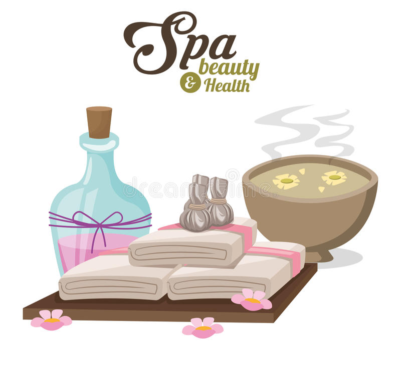 Spa beauty and health with water bowl flower compress and towels. Vector illustration eps 10 royalty free illustration