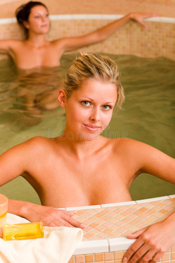 Spa beauty relax pool two naked women