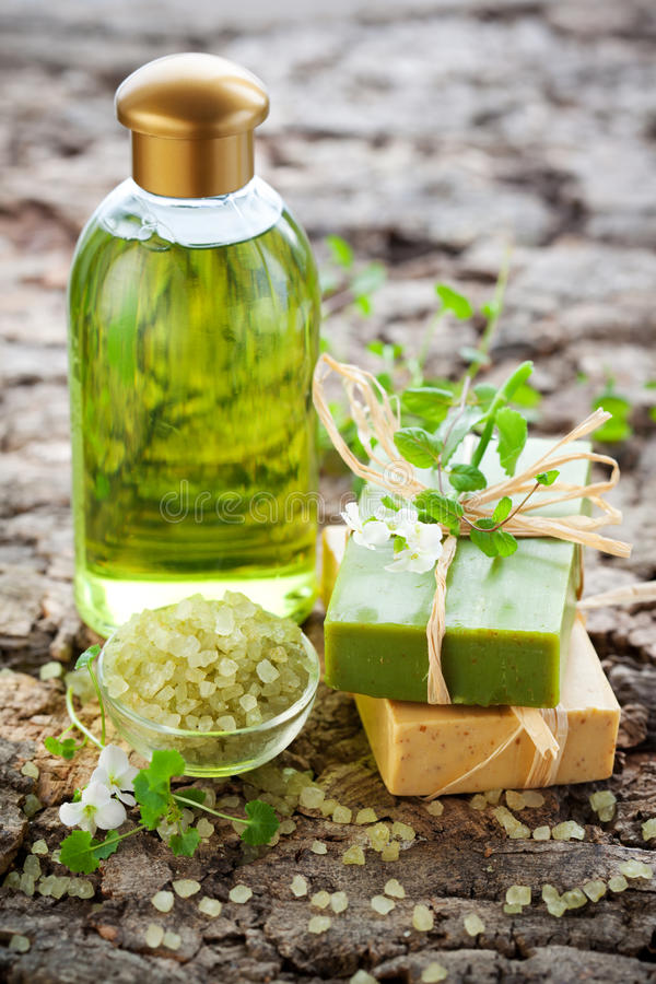 SPA beauty treatment products. SPA and body care products stock photos