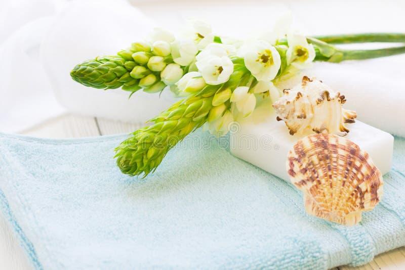 Spa begrepp med blommor och havsskalet arkivfoto