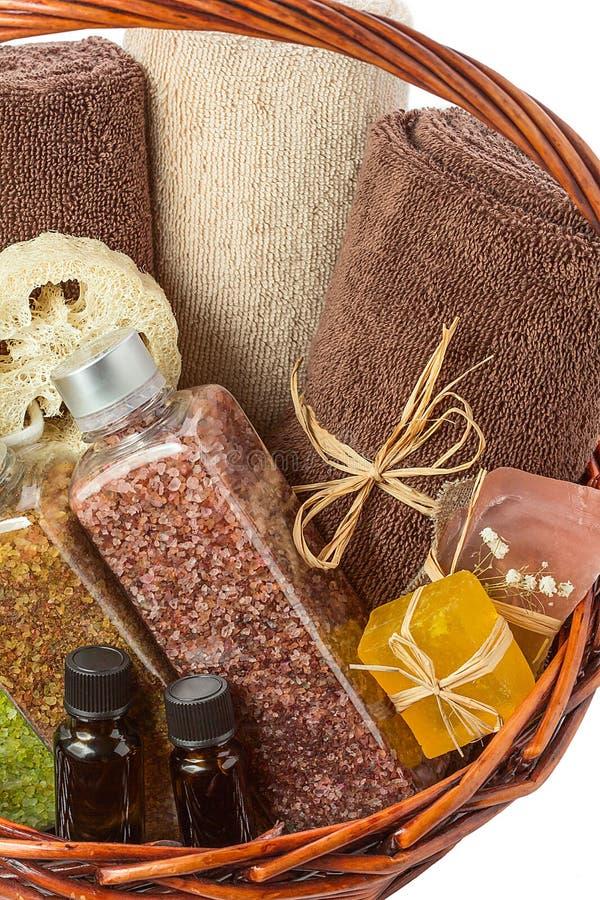 Spa behandling med salt nödvändig olja, tvål arkivfoton