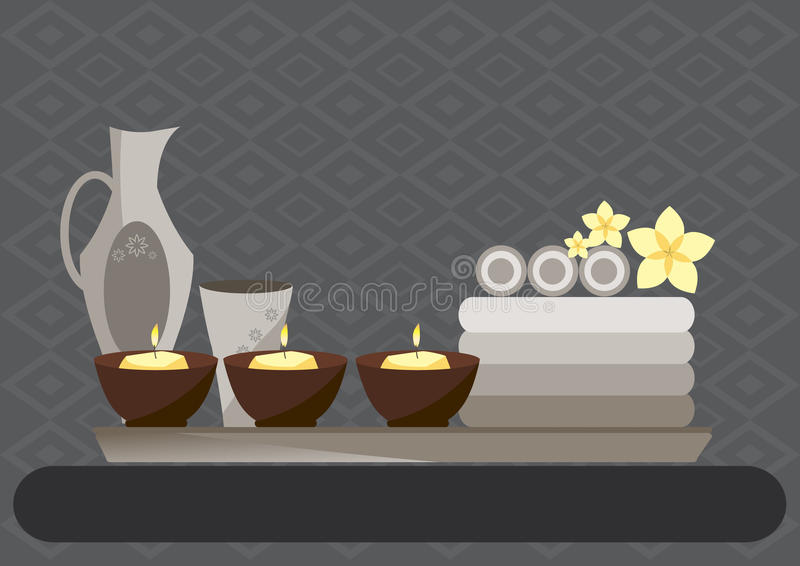 Spa and body care icons flat on gray backgrounds,Vector illustrations. Spa and body care icons flat on gray backgrounds