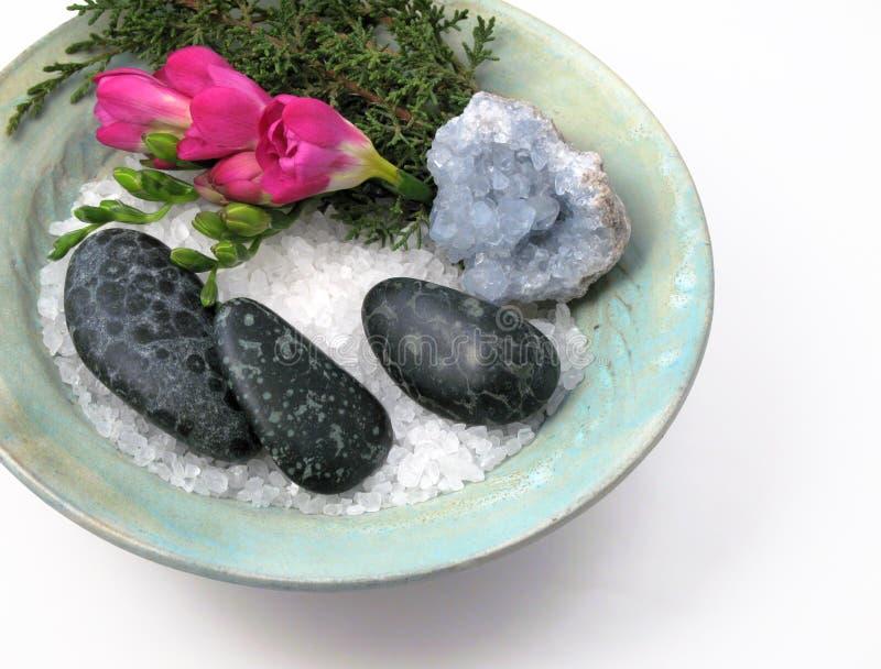Spa Bowl of Sea Salt & Stones stock photos