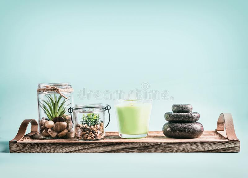 SPA, calmness and releasing stress concept background with green candles, Zen stones and succulent plants on tray at pastel blue stock photo