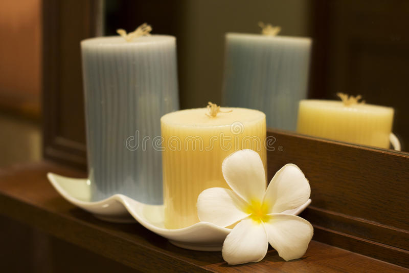 Spa Candle with Plumeria royalty free stock image