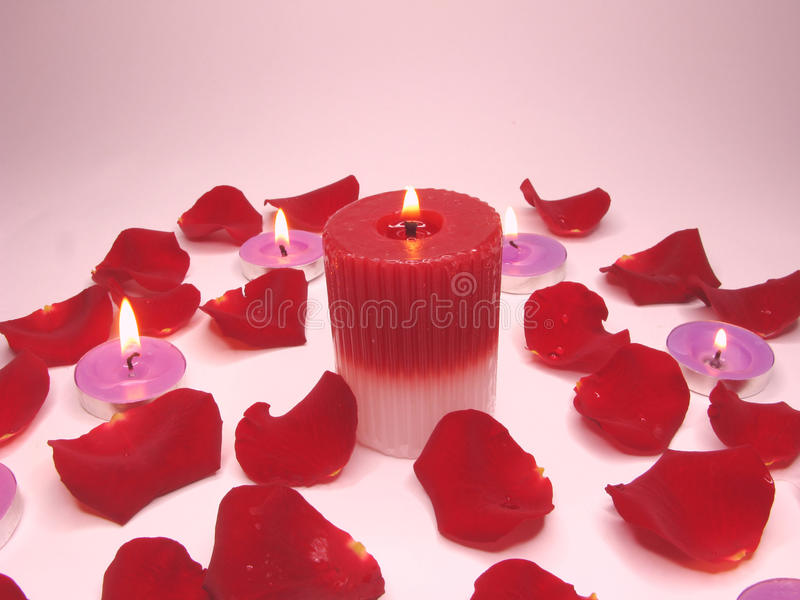 Download Spa Candles Red Rose Petals Stock Photo - Image of glass, fire: 14602270