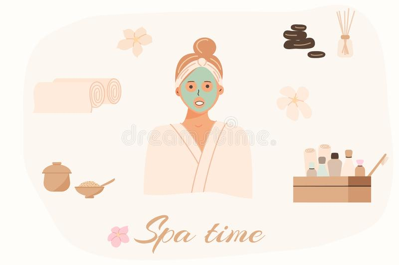 Spa center service. Beauty salon visitor cartoon character. Wellness center procedures and equipment pack. Hot stones for massage, stock illustration