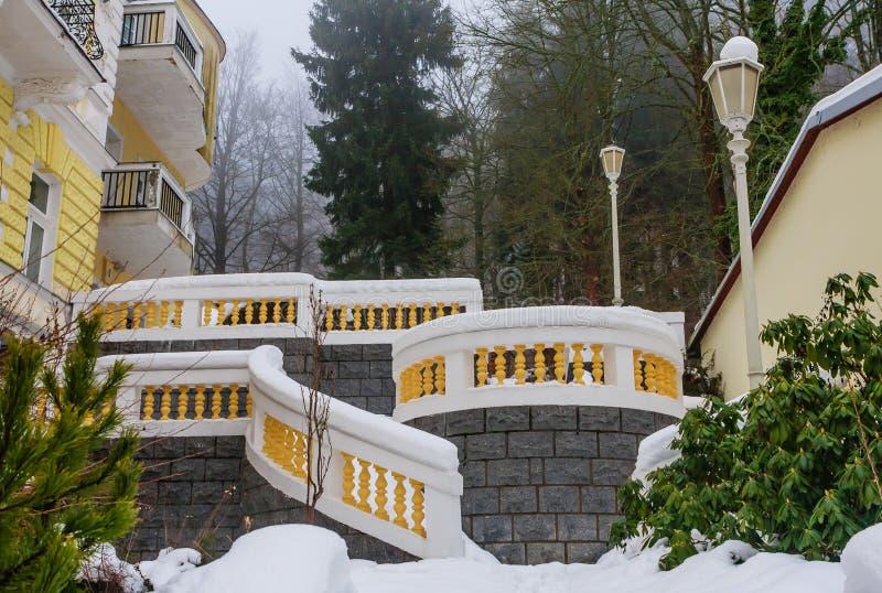 Spa center of small west Bohemian spa town Marianske Lazne. Marienbad in winter with snow - Czech Republic stock image