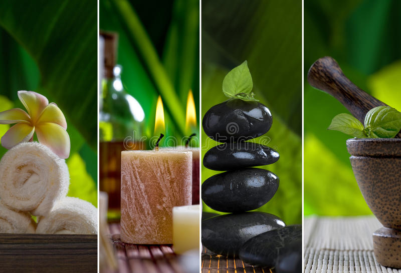 Spa collage. Close up view of spa theme objects on natural background