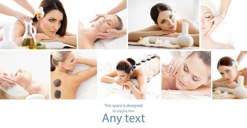 Set with young and beautiful girls relaxing in spa. Woman in massaging salon. Traditional oriental therapy and massaging royalty free stock images