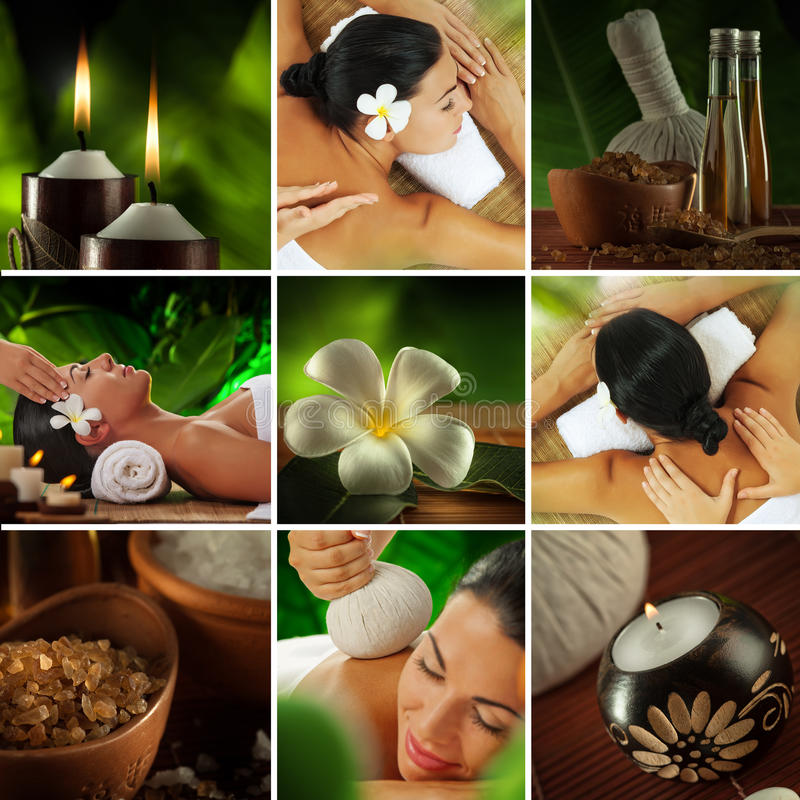 Spa collage. Spa theme photo collage composed of different images royalty free stock photo