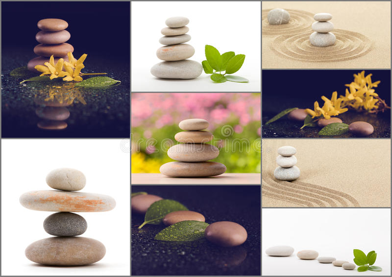 Spa collection, collage of balancing zen pebble stones. Collection, collage of balancing zen pebble stones, spa wellness tranquil scene, soul equanimity concept royalty free stock images