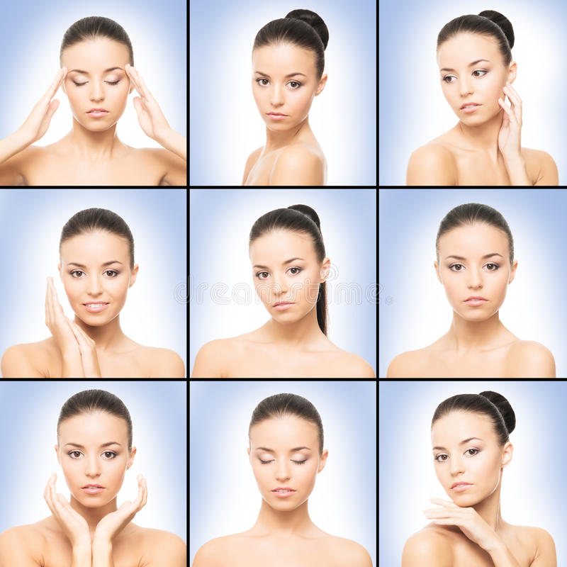 Spa collection of photos with beautiful brunette women stock photos