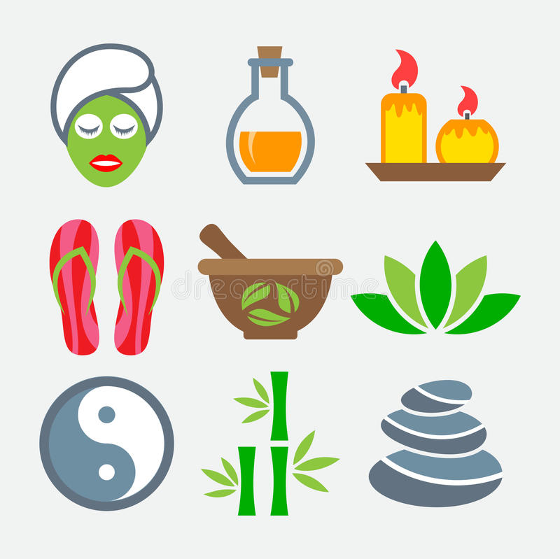 Spa colorful icons. On gray background royalty free illustration