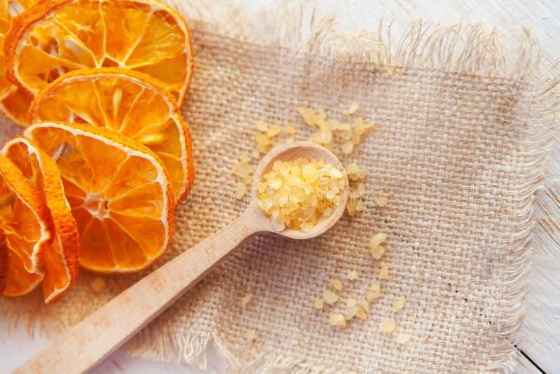 Spa composition aromatic sea salt. Spa composition with dried oranges and aromatic sea salt stock photos