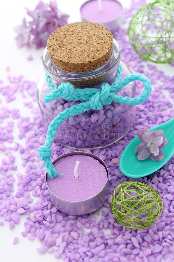Spa composition of bath salt and candle stock photo