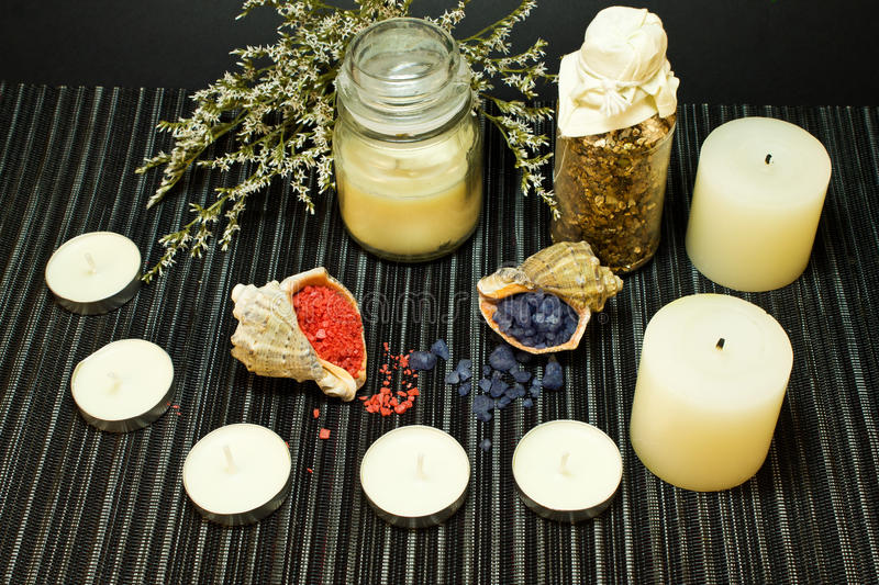 Spa composition with bath salt in shells stock photography