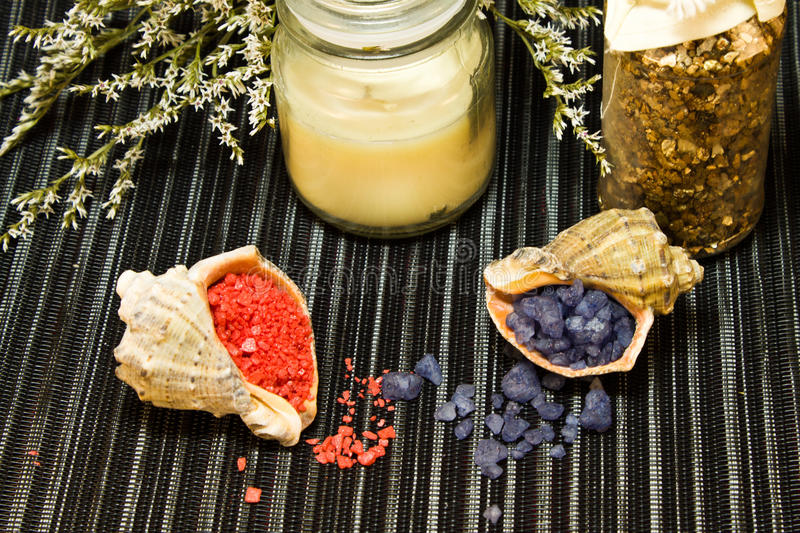 Spa composition with bath salt in shells royalty free stock photos