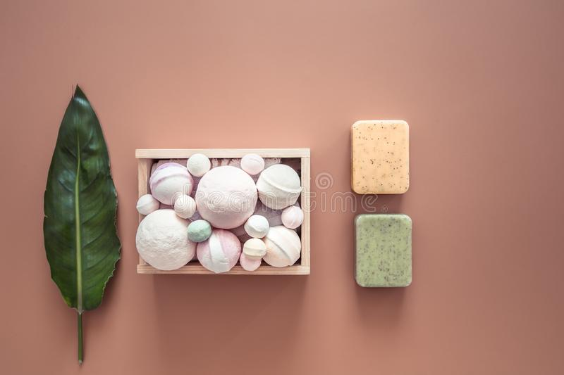 Spa composition with body care items on a colored background. Spa and body care concept . Flatlay stock photos