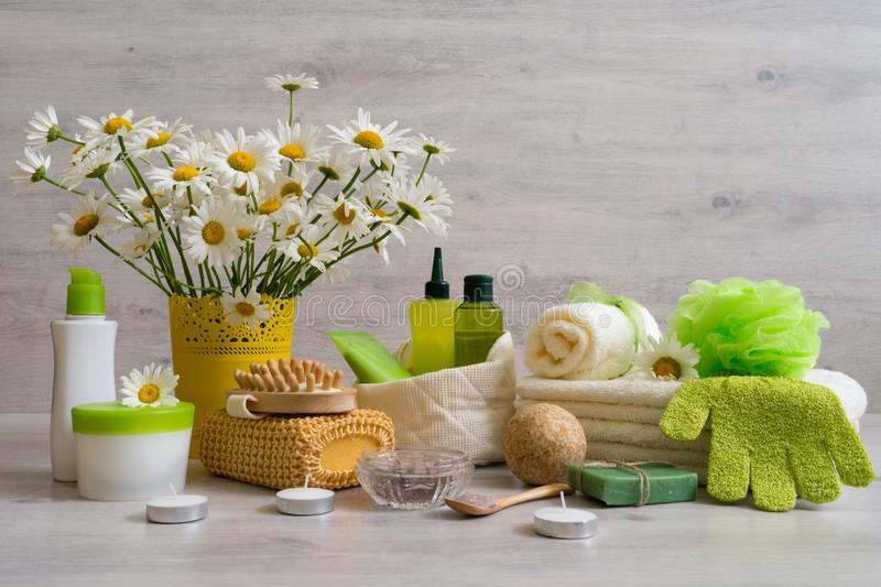 Spa composition with daisy flowers: cosmetic and bath products,. Accessories for massage and peeling on light background. Wellness concept, front view, copy royalty free stock image