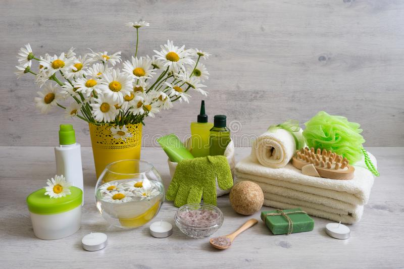 Spa composition with daisy flowers: cosmetic and bath products,. Accessories for massage and peeling on light background. Wellness concept, front view, copy royalty free stock photo