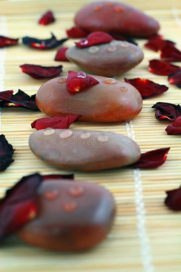 Free Spa Composition Of Stones And Red Petals Of Rose Stock Photography - 4111102