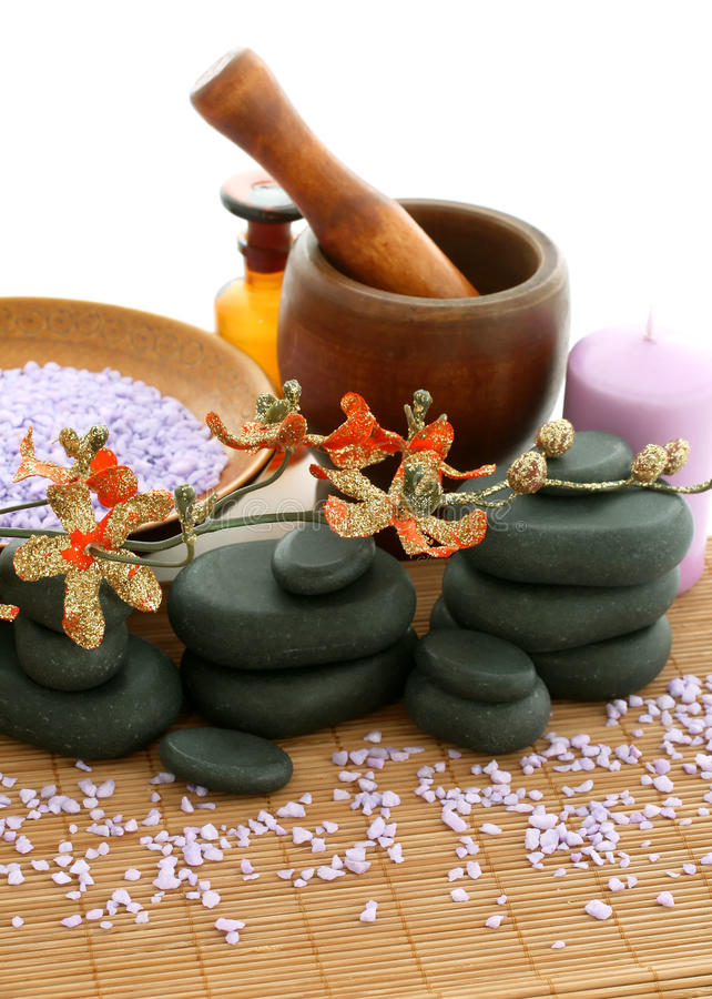 Spa Composition Of Stones And Bath Salt Royalty Free Stock Images