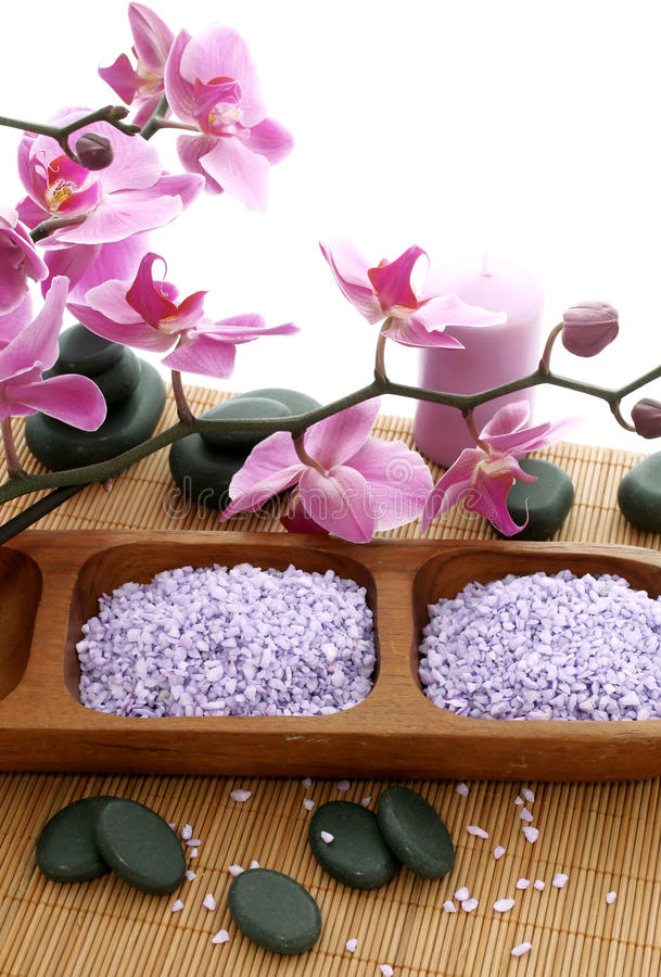 Download Spa Composition Of Stones, Bath Salt And Orchid Stock Photo - Image: 27528216